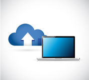 Cloud computing and laptop. connection concept Stock Photography