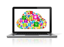 Cloud Computing Laptop. 3D Laptop Computer isolated on white with clipping path. Cloud Computing concept Stock Photo