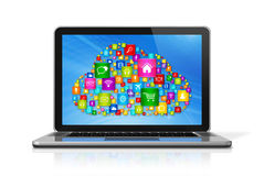 Cloud Computing Laptop Royalty Free Stock Photography