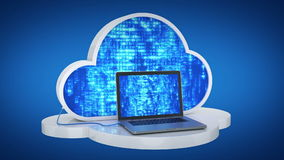 Cloud computing, laptop. Design made in 3D stock footage