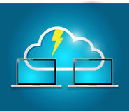 Cloud computing laptop electricity illustration Stock Image