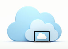 Cloud computing, laptop in front of cloud Royalty Free Stock Images