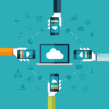 Cloud computing. Laptop and hands holding phones vector illustration. Stock Image