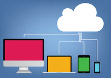 Cloud computing - laptop, tablet and smartphone vector Royalty Free Stock Image