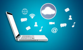 Cloud computing laptop technology connectivity concept. On blue background Royalty Free Stock Photo