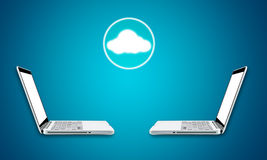 Cloud computing laptop technology connectivity concept Stock Images