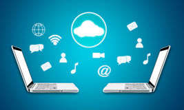 Cloud computing laptop technology connectivity concept Royalty Free Stock Photography