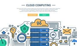 Cloud Computing - line design website banner Stock Images