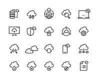 Cloud computing line icons. Data storage technology information infrastructure system data. Cloud access platform set stock illustration