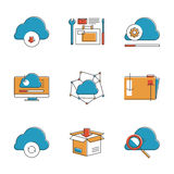 Cloud computing line icons set. Abstract icons of cloud computing communication technology, internet server hosting, folder sharing, computer data management Stock Photography