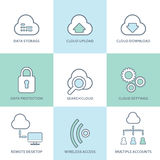 Cloud computing line icons set. Flat design Royalty Free Stock Images