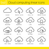 Cloud computing linear icons set. Mouse click, bookmarks and statistics symbols. Recharging, wi fi and upload signs. Thin line contour symbols. Isolated vector Royalty Free Stock Images