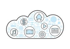 Cloud computing linear style icon. Network cloud service, global data safety, financial system protection, online data backup illustration Stock Photography