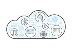 Cloud computing linear style icon. Network cloud service, global data safety, financial system protection, online data backup vector illustration Stock Photography