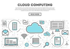 Cloud computing linear style infographics. Network cloud service, global data safety and interactive processing, financial system protection, online data Royalty Free Stock Image