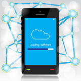 Cloud computing loading on mobile Royalty Free Stock Images