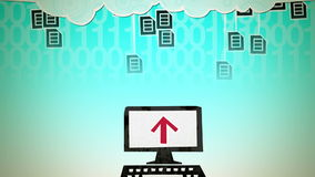 Cloud Computing Loop. Dynamic graphic animation using paper cutout styled elements to illustrate the uploading of documents to the cloud. High definition 1080p vector illustration