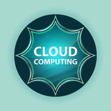 Cloud Computing magical glassy sunburst blue button sky blue background stock illustration