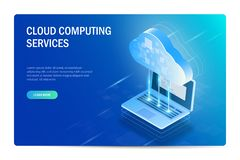 Cloud Computing mantiene concepto isom?trico E Modelo del Web site azul libre illustration