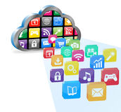 Cloud computing with many application Stock Image