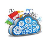 Cloud computing with many applications Stock Photos