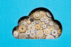 Cloud computing mechanism. Cloud formed by gears and cogs Stock Photography