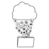 Cloud computing and media icon set design. Cloud computing file and media icon set. Multimedia storage and technology theme. Isolated design. Vector illustration Royalty Free Stock Photo
