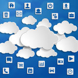 Cloud computing with media icons on a blue background Royalty Free Stock Images