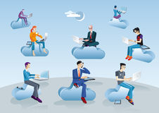 Cloud Computing Men Sitting In Clouds. Eight men of different ages clothes and styles (businessman, creative, geek etc.) working in the cloud with their laptops Royalty Free Stock Photos