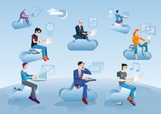 Cloud Computing Men Sitting In Clouds With Icons Stock Photography