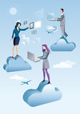 Cloud Computing Men And Woman. Two women and a man are working in the sky between clouds. they are working on the sky with computers and tablet, connected to