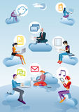 Cloud Computing Men Women And Icons. Eight character (four Men ans four women) flying and working between clouds. They are working with computers, smartphones Stock Photo