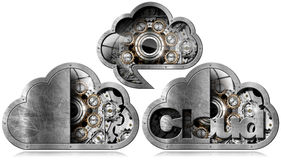 Cloud Computing with Metal Gears Royalty Free Stock Images