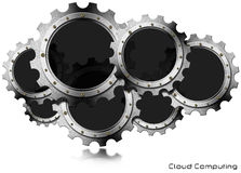 Cloud Computing - Metal Gears Royalty Free Stock Image