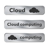 Cloud computing metallic web elements, buttons Royalty Free Stock Photo