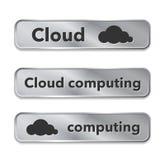 Cloud computing metallic web elements, buttons Royalty Free Stock Photo