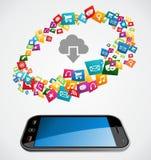 Cloud computing mobile application Stock Image