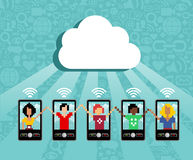 Cloud computing mobile device concept Stock Photography