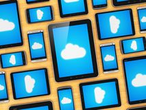 Cloud computing on mobile devices concept Royalty Free Stock Photos