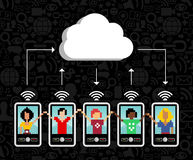 Cloud computing mobile phone background Stock Photo
