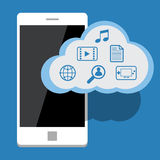 Cloud computing with mobile phone. Vector Flat design Royalty Free Stock Photo