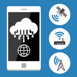 Cloud computing with mobile phone. Vector Flat design Royalty Free Stock Image