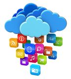 Cloud computing and mobility concept. Blue glossy clouds with lot of color application icons isolated on white background stock illustration