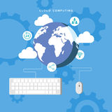 Cloud computing. Mouse and keyboard connected to Earth. Royalty Free Stock Photo