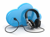 Cloud computing multimedia concept. Headphones and clouds. Royalty Free Stock Photo
