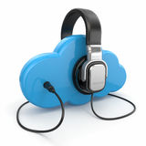 Cloud computing multimedia concept. Headphones and clouds. Stock Photos