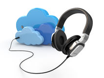 Cloud computing multimedia concept. Headphones and clouds. Stock Image