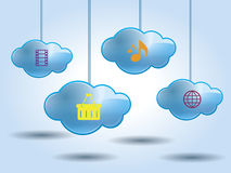 Cloud computing  with multiple servers vector illustration Royalty Free Stock Photo