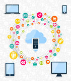 Cloud computing network concept vector illustration