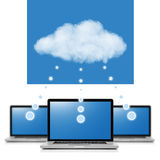 Cloud computing network concept. Notebooks linked with cloud iso Royalty Free Stock Photography